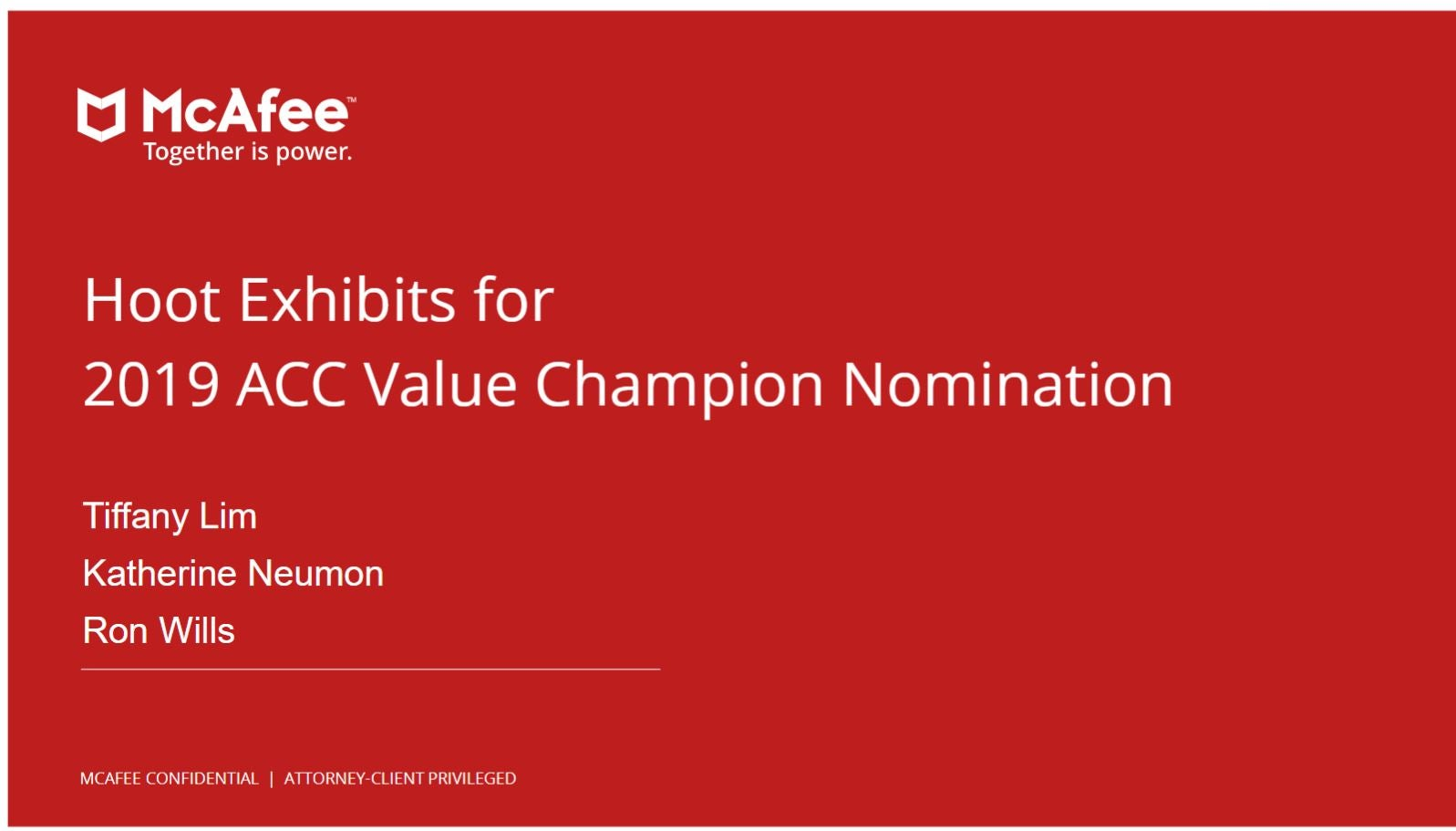 2019 Value Champion McAfee Hoot Exhibit