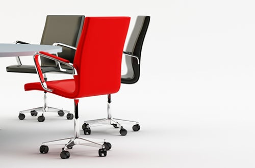 red and black boardroom chairs