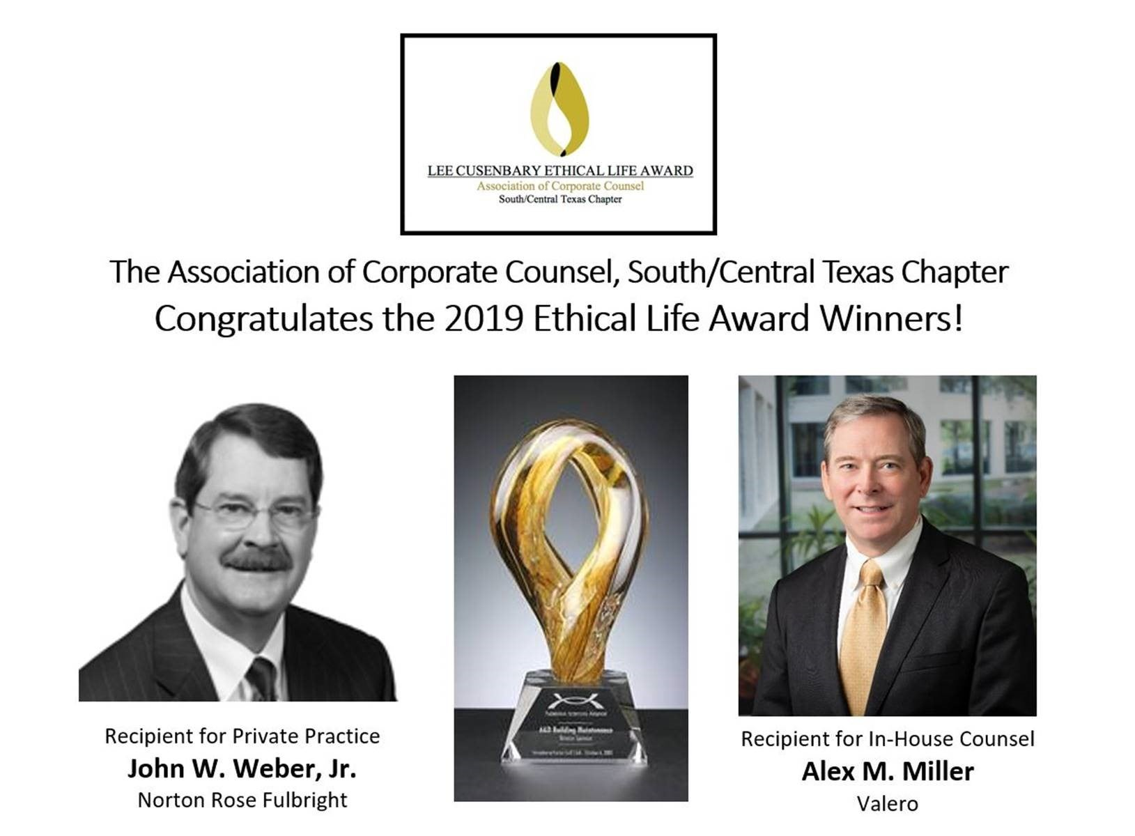 2019 South Central Texas Chapter Ethical Life Award Winners