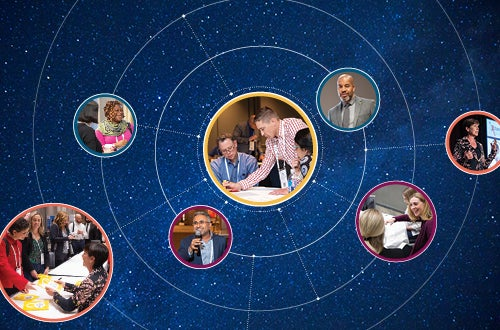 xchange 2020 card row for in-person education page, teamwork, speakers, book signing