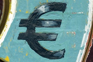 Euro symbol on a blue background