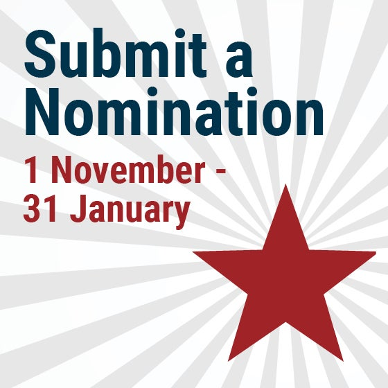 Submit a Nomination 1 November - 31 January