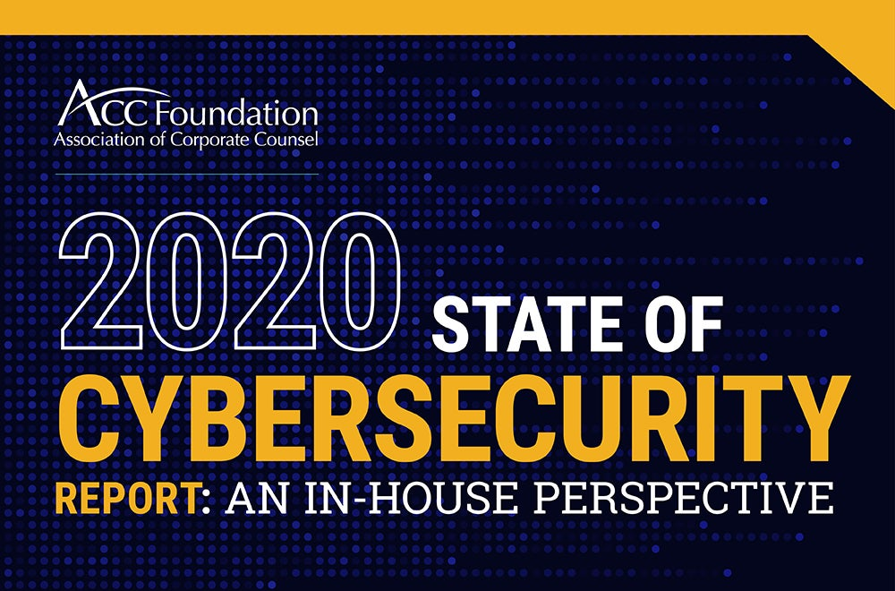 2020 cybersecurity report cover, blue and yellow text