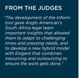 2019 Value Champion Anglo American and Exigent Judge Quote